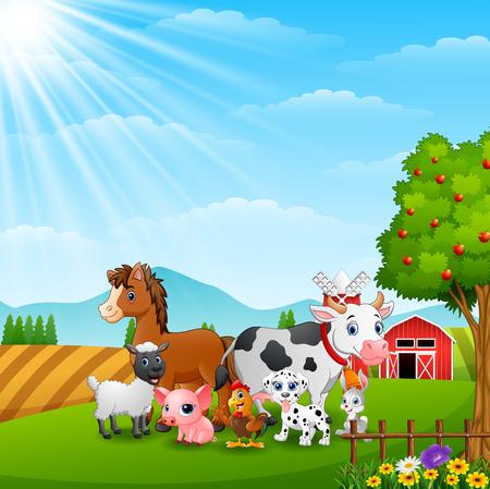 Happy farm animals on daylight Illustration