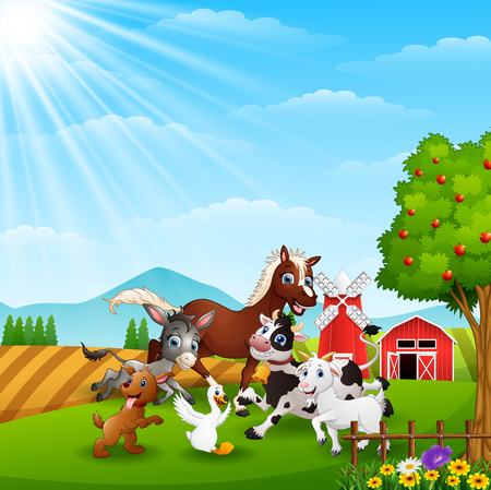 Animals playing together at farm background