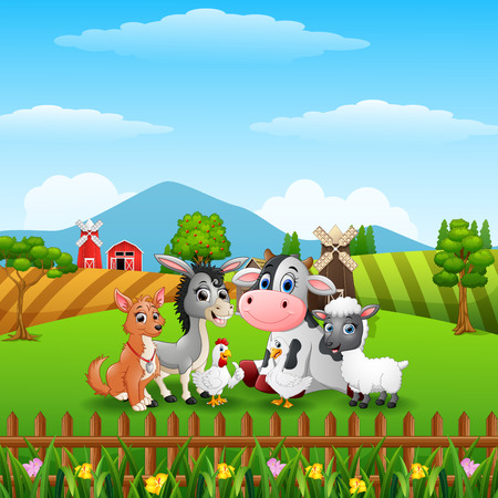 Cute farm animals on the hills