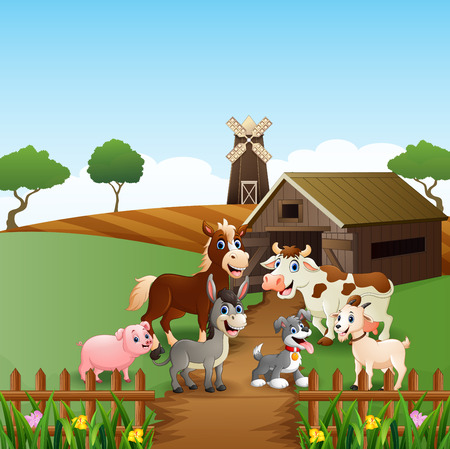 Farm animals at cage background