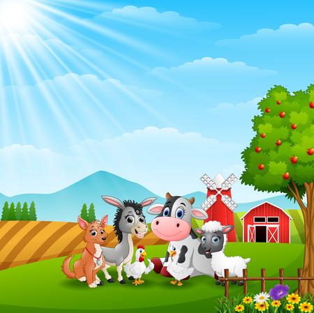 Cute animals at farm background