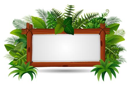 Illustration vectorielle de planche de bois signe vierge sur les feuilles