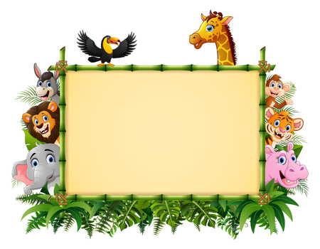 Vector illustration of Animals with a blank sign bamboo