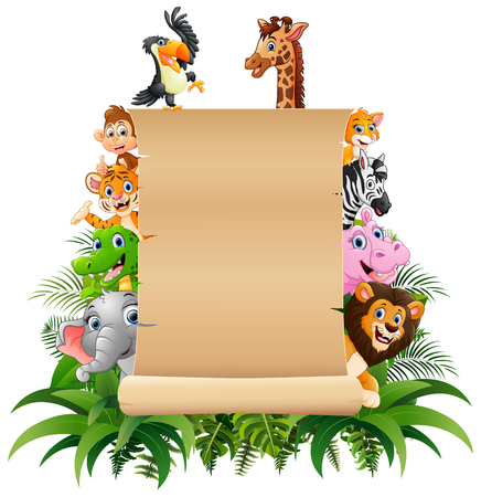 Vector illustration of Animals with a blank sign paper