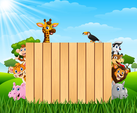Vector illustration of Animals with a blank sign wood