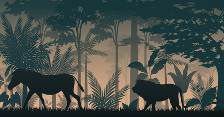 Silhouette animals in forest