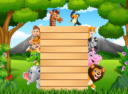 illustration of Animals with a blank sign wood