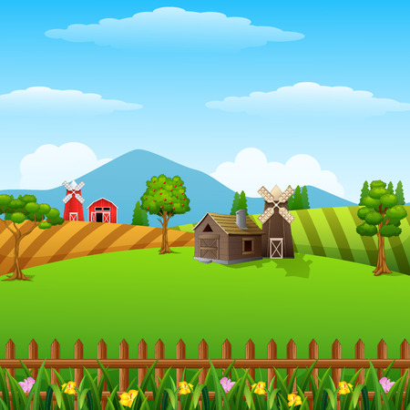 illustration of Farm landscape with shed and windmill