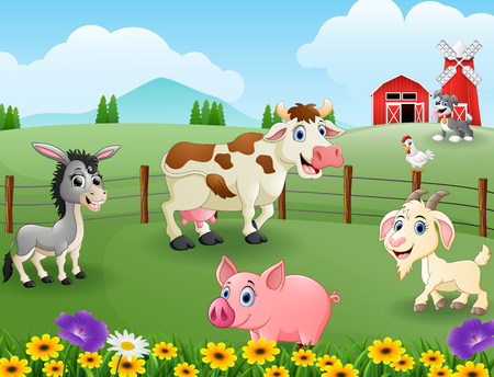 Vector illustration of Animals farm in the hills 向量圖像
