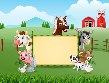 Vector illustration of Farm animals with a blank sign bamboo