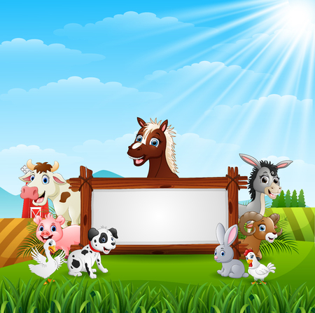 Vector illustration of Farm animals with a blank sign wood