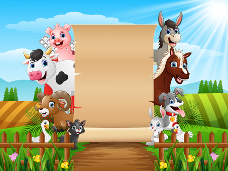 Vector illustration of Farm animals with a blank sign paper 向量圖像
