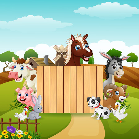 Vector illustration of Farm animals with a blank sign wood 版權商用圖片 - 104872547