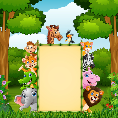 Vector illustration of Animals with bamboo blank sign in jungle