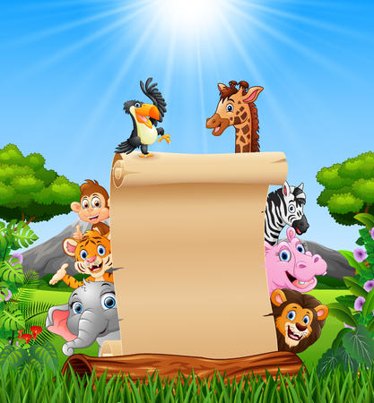 Vector illustration of Animals with paper blank sign in savannah