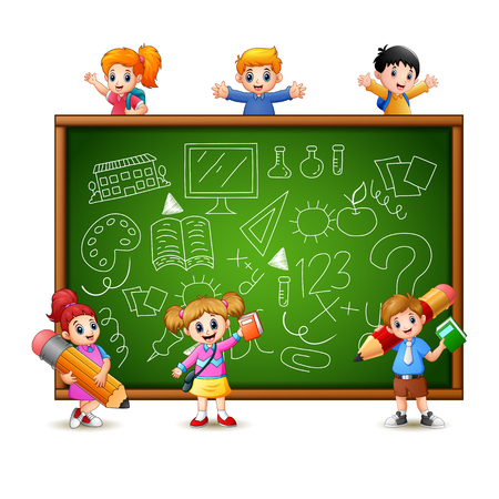 Vector illustration of Cartoon children goes to learn Stock Illustratie