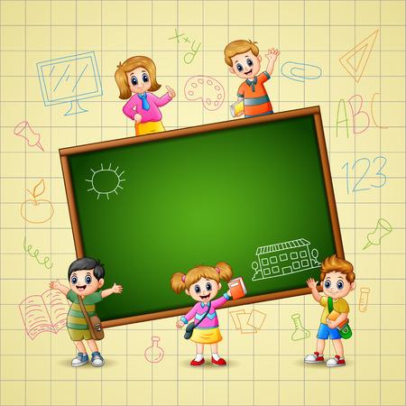 Vector illustratie van The Children gaat om te leren