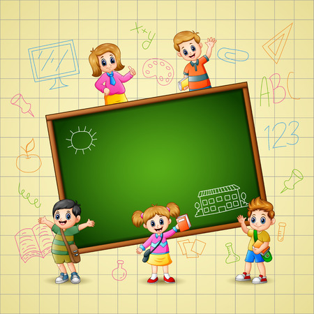 Vector illustration of The Children goes to learn