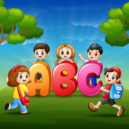 Vector illustration of The children are learn Alfabet Illustration
