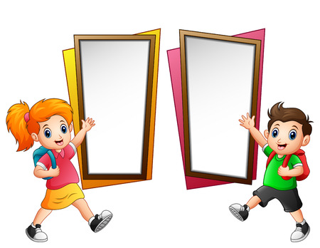 Vector illustration of Children goes to school
