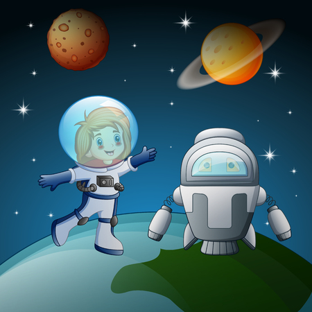 Vector illustration of Astronaut and robot in the space