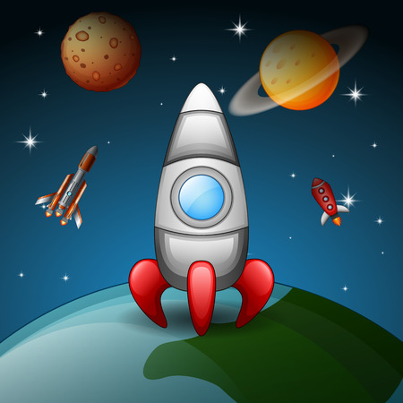 Vector illustration of Rockets are flying in space