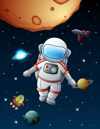 The astronaut flying in space