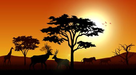 Vector illustration of Silhouette animals savannas in the afternoon 向量圖像