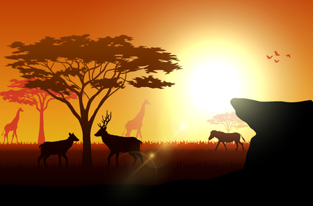 Vector illustration of Silhouette animals on savannas in the afternoon Иллюстрация