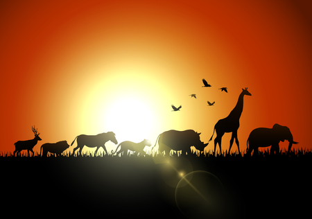 Silhouette animals on savannas Banque d'images - 105715382