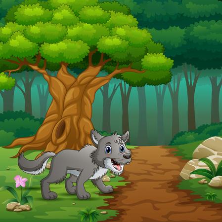 Illustration vectorielle du loup marchant dans les collines de la forêt