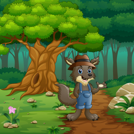 Vector illustration of The wolf walking in way of forest hills Illustration