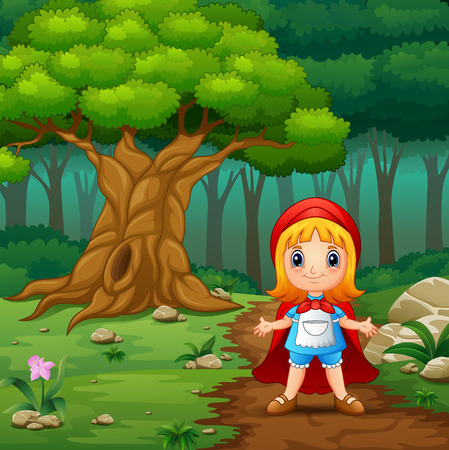 Vector illustration of Red hooded girl are in the village at forest Vettoriali