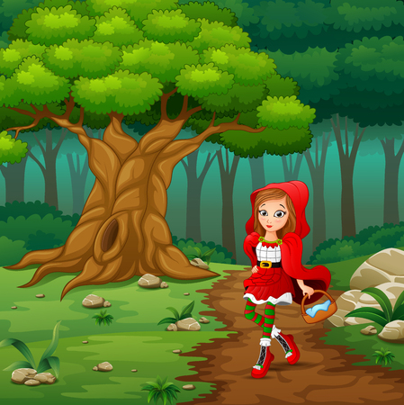 Vector illustration of Red hooded girl are in the village at forest Vectores