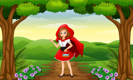 Vector illustration of Red hooded girl are in the village at forest