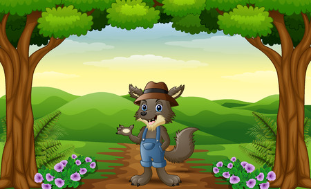 Vector illustration of Wolf alone in the hills of village
