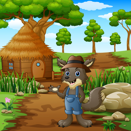 Wolf alone in the village Illustration