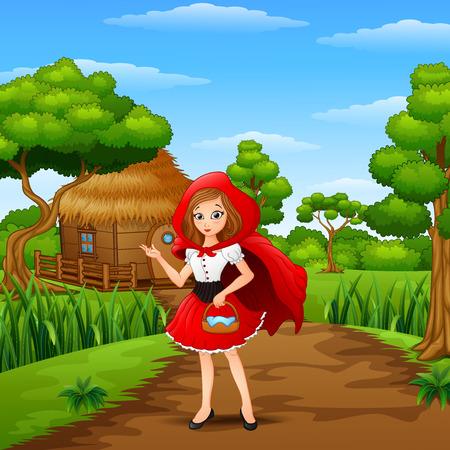 Mädchen mit roter Kapuze sind im Dorf im Wald