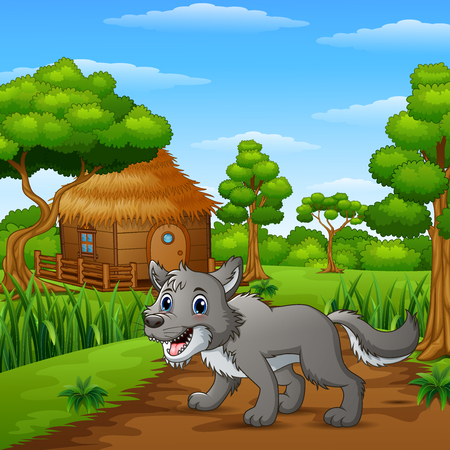 Vector illustration of Wolf alone in the village Illustration
