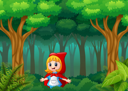 Dziewczyna w czerwonym kapturze jest w wiosce w lesie