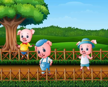 Trois petits cochons faisant de l & # 39; activité