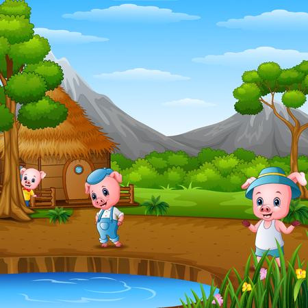 Trois petits cochons font de l'activité