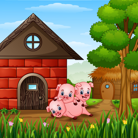 Three little pigs are playing at farm