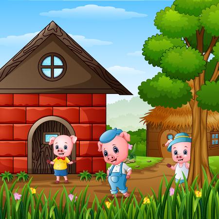 Drie kleine biggetjes spelen buiten het huis Vector Illustratie