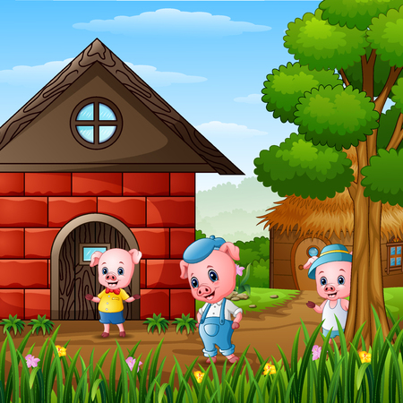 Three little pigs are playing outside house