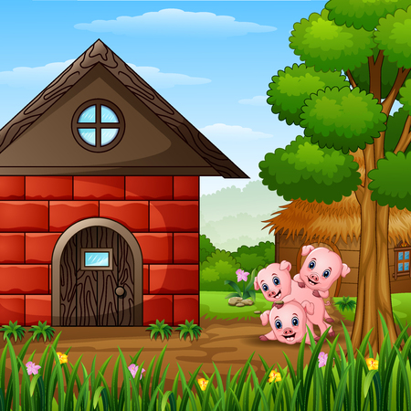 Three little pigs are playing Stock Illustratie