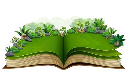 Libro abierto con planta verde de fondo de la naturaleza Ilustración de vector
