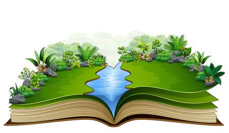 Offenes Buch mit grünem Pflanzenhintergrund der Natur