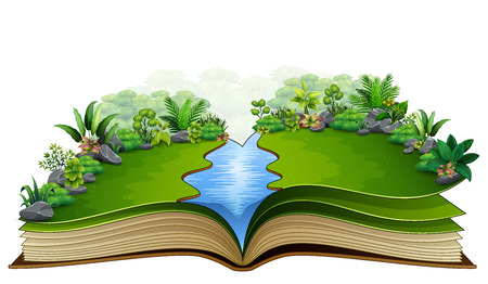 Open book with green plant of nature background
