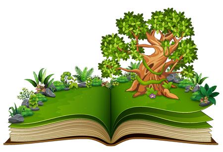 Offenes Buch mit Tierkarikatur auf den Bäumen